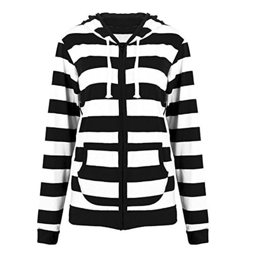 Long Sleeved Striped Hoodie Sweatshirt