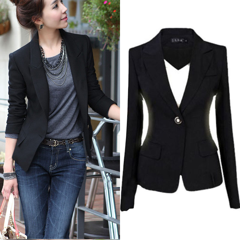 One Button Slim Casual Business Blazer