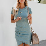 Short Sleeve Solid Bodycon Slim Party Dress-BluRose - Mommy & Daughter