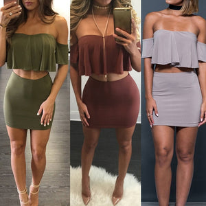 Women's Two Piece Top And Bodycon Mini Skirt