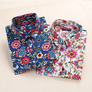 Floral Women Blouse Long Sleeve-BluRose - Mommy & Daughter
