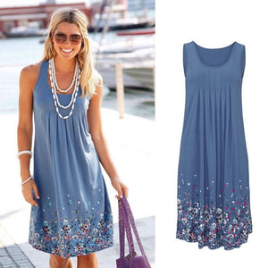 Sleeveless Floral Print Loose Summer Dress-BluRose - Mommy & Daughter