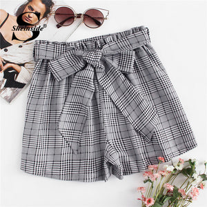 Tie Waist Plaid Shorts