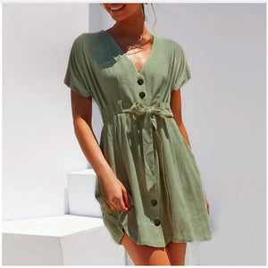 Women V-Neck Button Down Short Dress