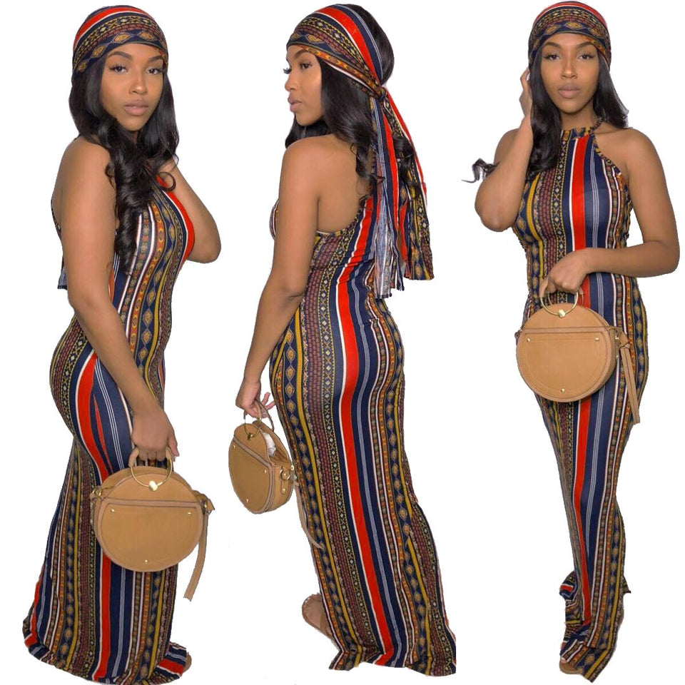 Women's Summer Bohemian Printed Dress & Headscarf