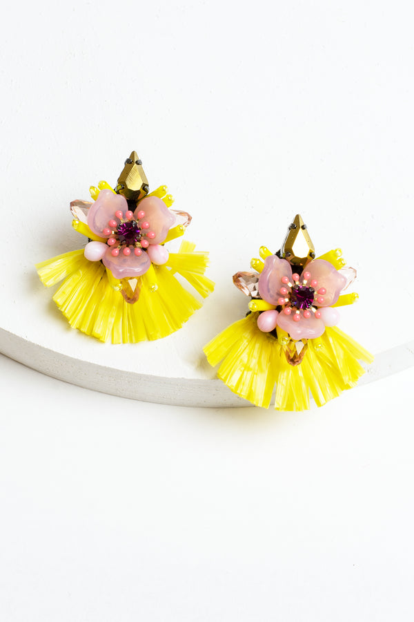 Zenzii Crystal Flower Raffia Earrings