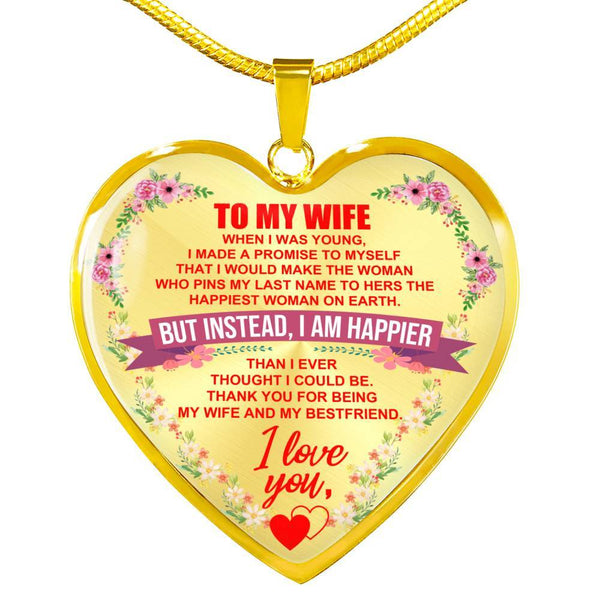 To My Wife - Heart Necklace - HD40