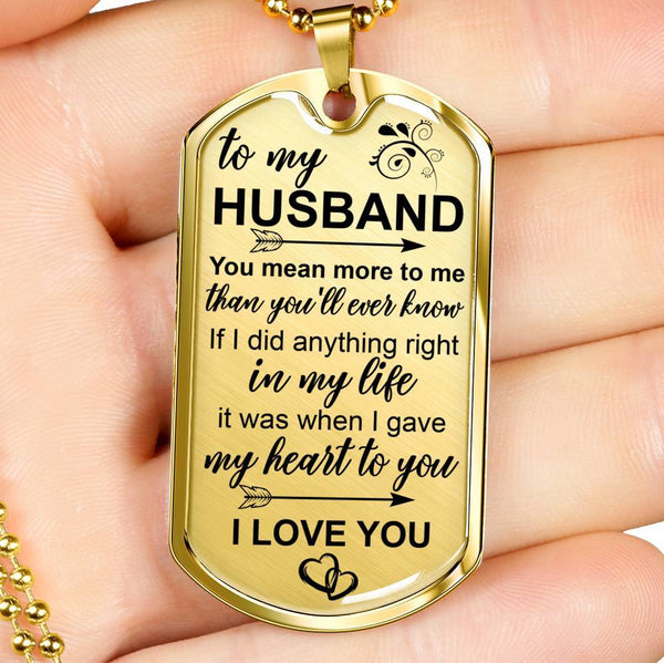 To My Husband - Real 18k Gold Keepsake Tag - DT06