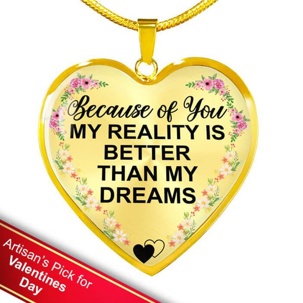 Because Of You - Real 18k Gold Heart Necklace *Custom Engrave Option - HD46