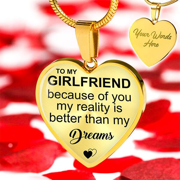 To My Girlfriend - 18k Gold Heart Necklace - HD55