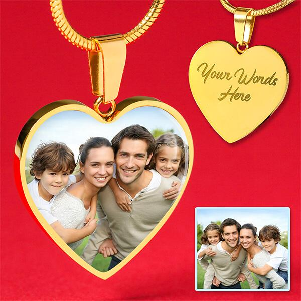 Custom Photo 18k Gold Heart Necklace
