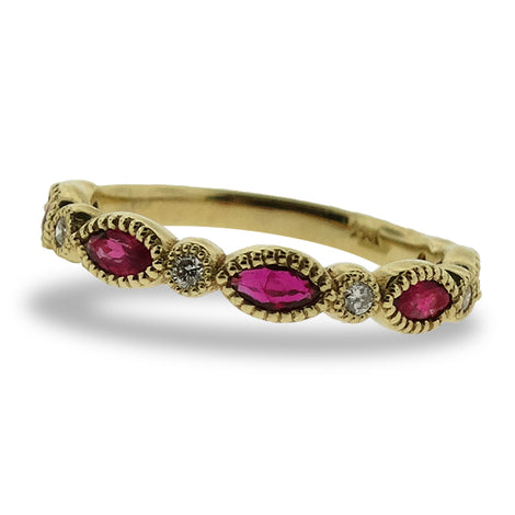 Ruby and Diamond Marquise RIng
