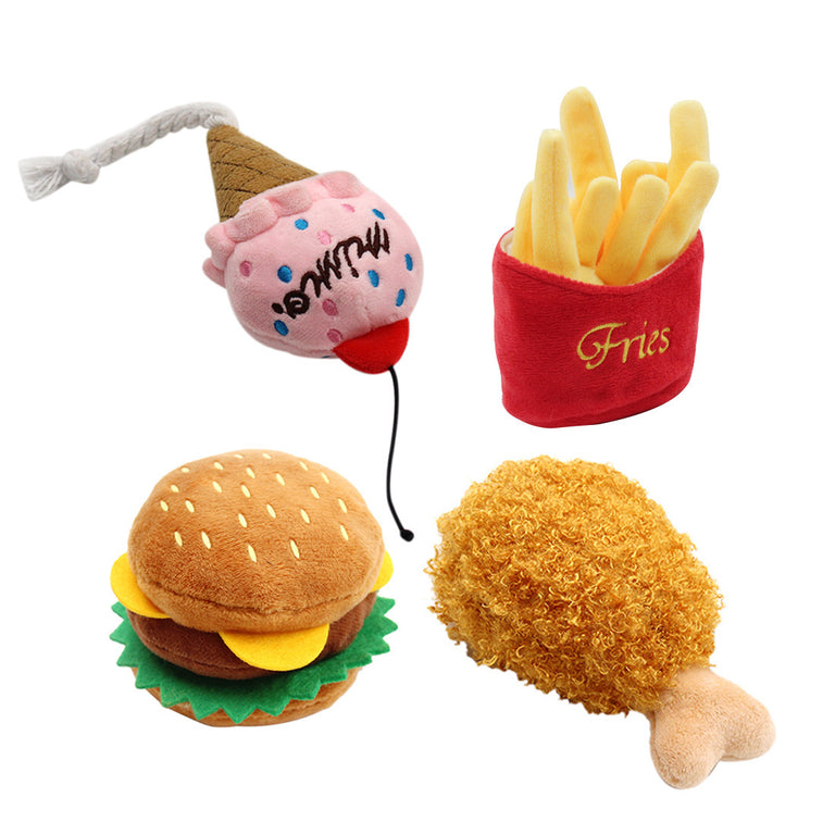 Pet Dog Toys Plush drumstick hamburger fries ice cream Squeak Chew Squeaker Kong Pet Puppy Toys For Dogs Cats Honden speelgoed