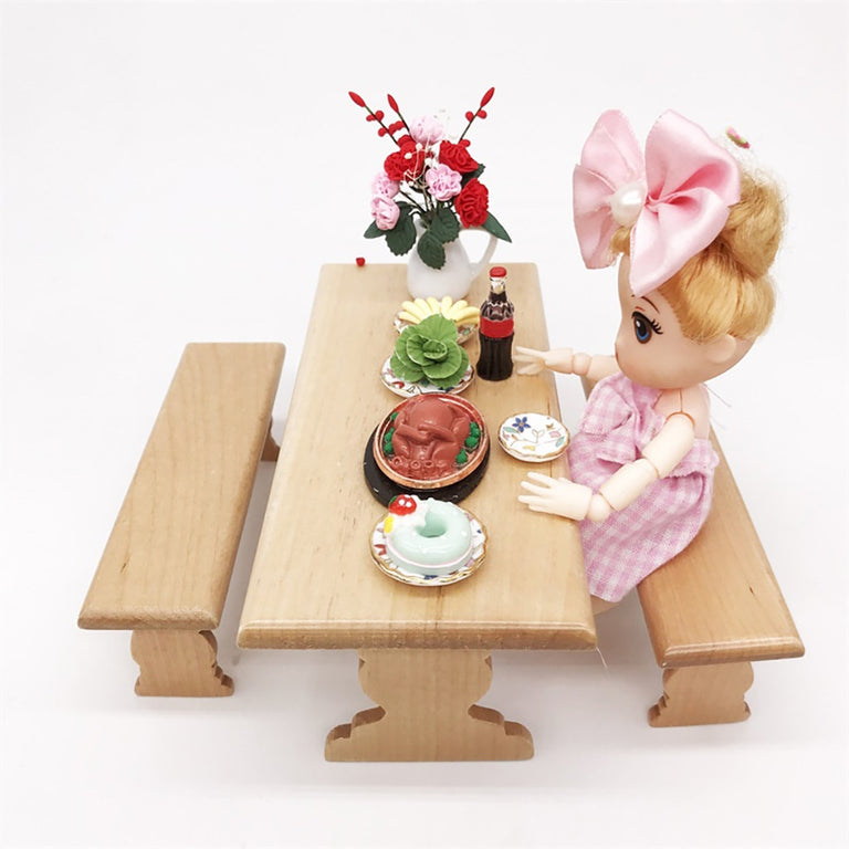 HIINST 1:12 Dollhouse Miniature Furniture Wooden Kitchen Dinette Table Chair Toy 19APR24 P35