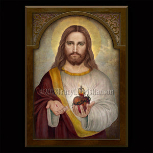 Sacred Heart of Jesus (A) Plaque & Holy Card Gift Set