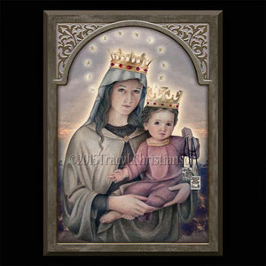 Our Lady of Mount Carmel Plaque & Holy Card Gift Set