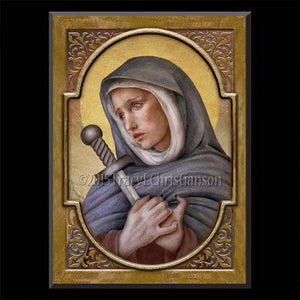 Our Lady of Sorrows Plaque & Holy Card Gift Set