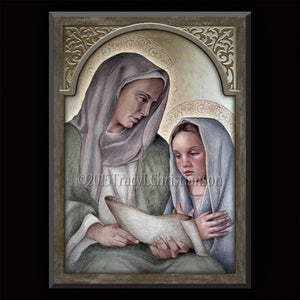 St. Anne and the Child Mary Plaque & Holy Card Gift Set