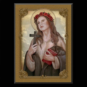 St. Rosalia of Palermo Plaque & Holy Card Gift Set
