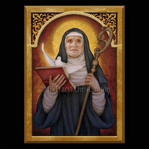 St. Scholastica Plaque & Holy Card Gift Set