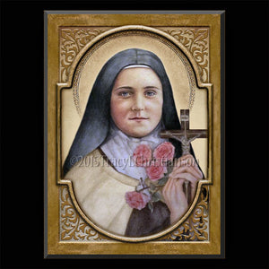 St. Therese of Lisieux (A) Plaque & Holy Card Gift Set
