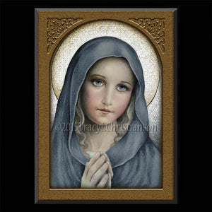 The Virgin Plaque & Holy Card Gift Set