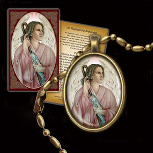 St. Raphael the Archangel Pendant & Holy Card Gift Set