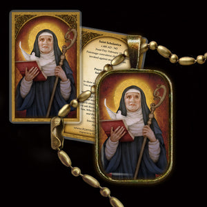 St. Scholastica Pendant & Holy Card Gift Set