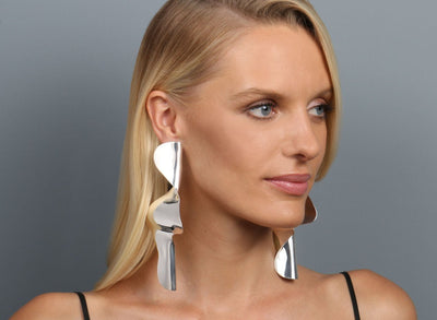 Louise Olsen Large Fold & Flow Earrings - Silver