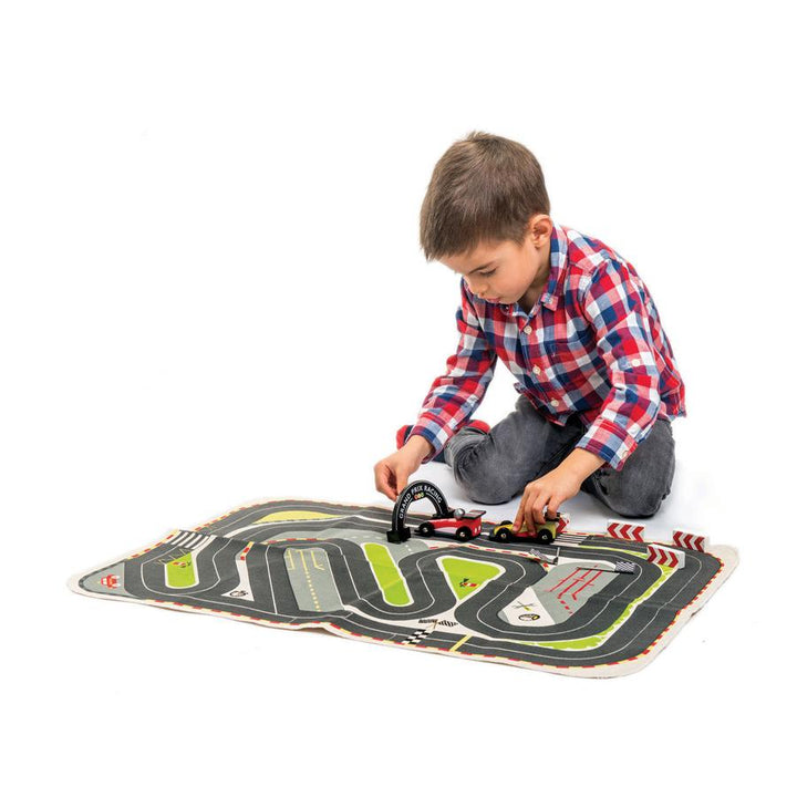 On-the-Go Formula One Wooden Cars with Playmat