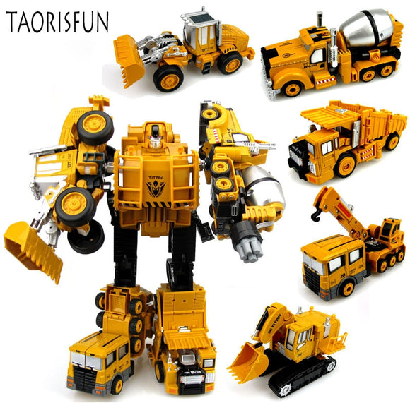 TAORISFUN - TAORISFUN - New Alloy And Plastic Transformer Robot, Engeenering Vehicles 5in1 Model Megabot Toy For Adult and Child
