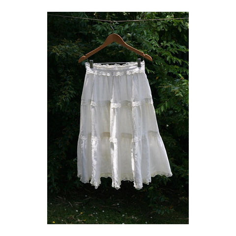 70's White Fine Cotton and Lace Tiered Swing Skirt