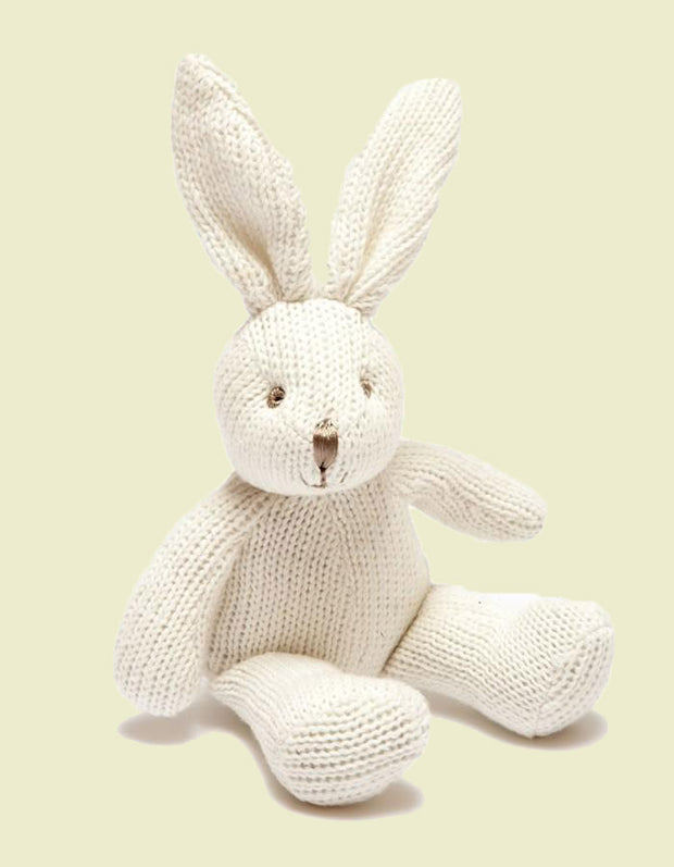 Organic Knitted Bunny Rattle White