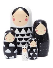 Russian Nesting Dolls - Black & White