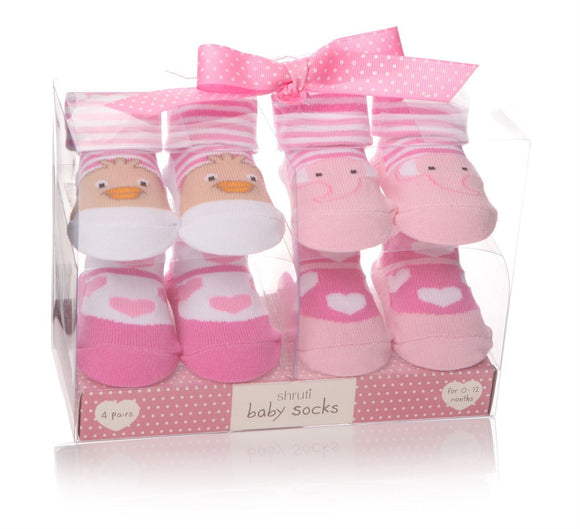 Baby Socks Pack of 4 Pink Designs Elephant, Ducks & Hearts - Caths Direct