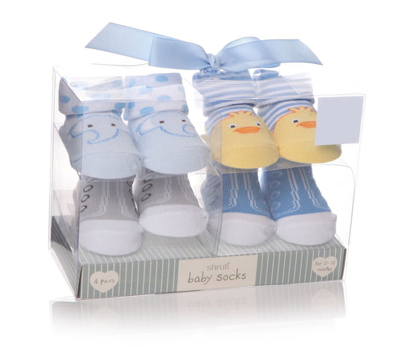 Baby Socks Pack of 4 Blue Designs Elephant, Ducks & Trainers - Caths Direct
