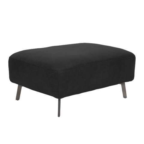 Taxton Sofa Footstool | Black, Leather