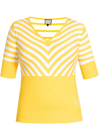 Mademoiselle Yéyé Stripes Lover 60's Top Geel Wit