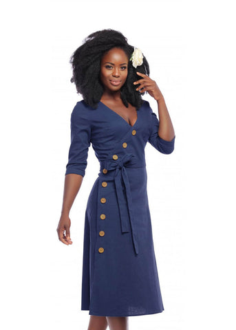 Collectif Susanna Nautical 60's Swing Jurk Navy