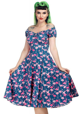 Collectif Dolores Flamingo Flock 50's Swing Jurk Multi