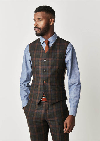 Gibson London William Tartan Gilet Sage Groen