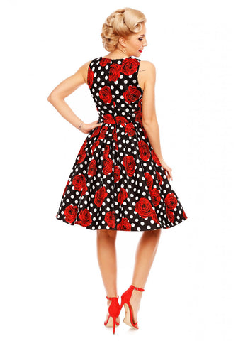 Dolly & Dotty Annie Roses and Polkadots 50's Swing Jurk Zwart