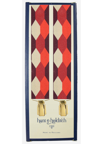 Hunt & Holditch Bretels Hexagons met Gouden Clips Burgundy