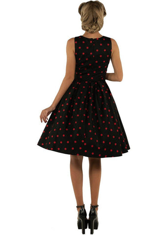 Dolly & Dotty Annie Polkadot 50's Swing Jurk Zwart Rood