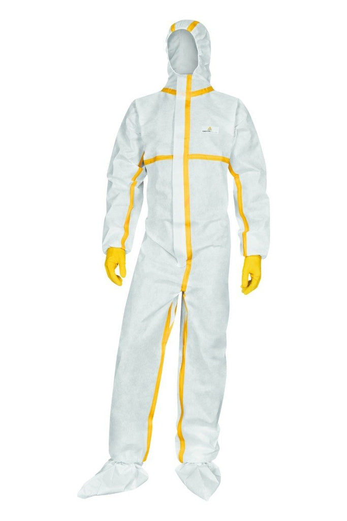 Delta Plus Non Woven Hooded Overall Taped Seams Single Use DT216 White