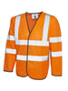 Uneek Long Sleeve Safety Hi Vis Waist Coat UC802 orange
