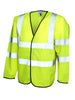 Uneek Long Sleeve Safety Hi Vis Waist Coat UC802 yellow