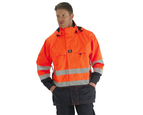Helly Hansen Hi Vis Potsdam Jacket 71374 lifestyle image orange navy blue
