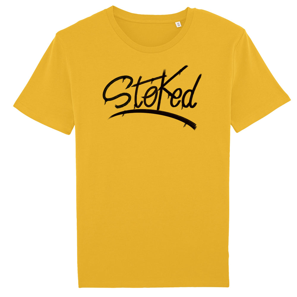 Stoked spray yellow t-shirt