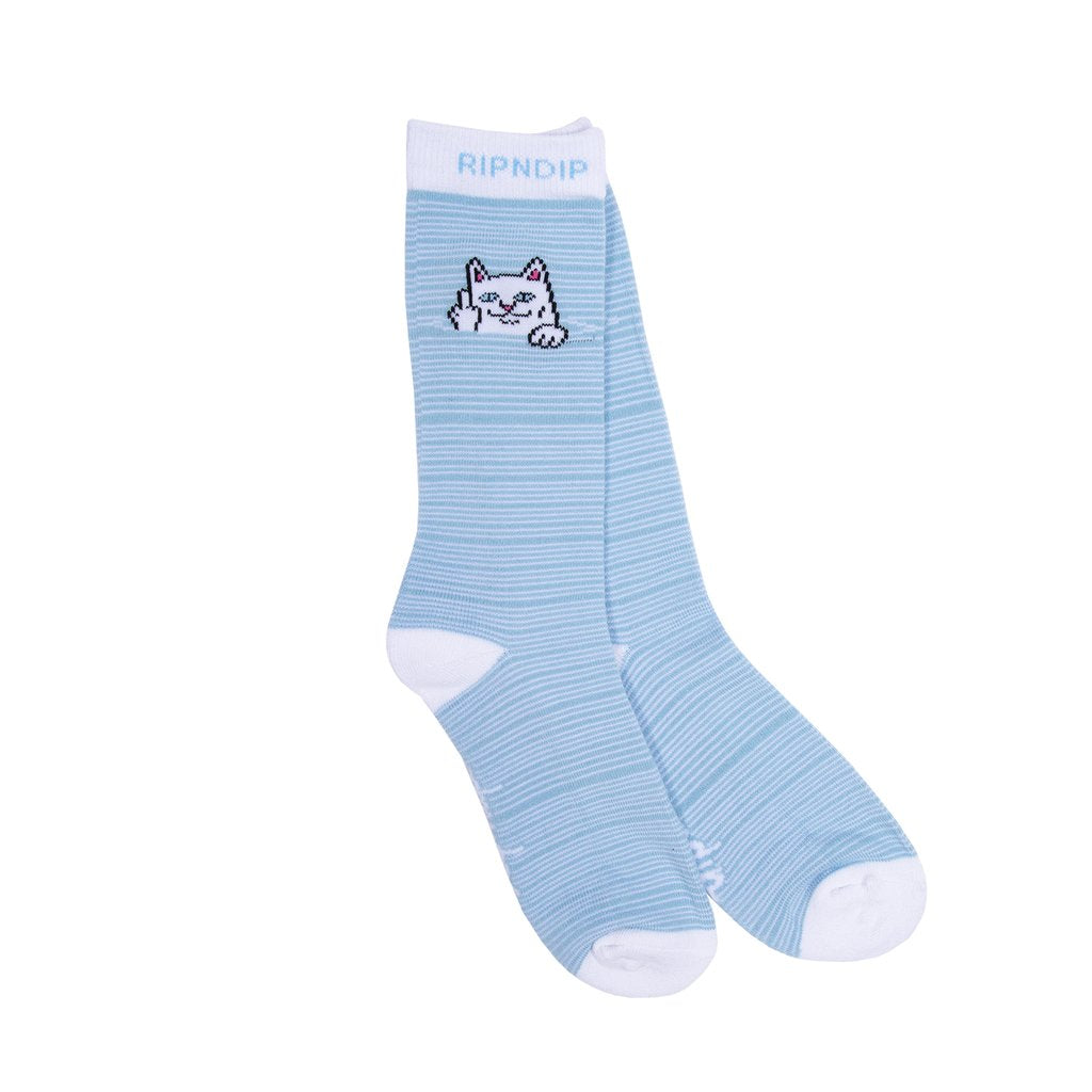 Peeking Nermal Socks Baby Blue/White